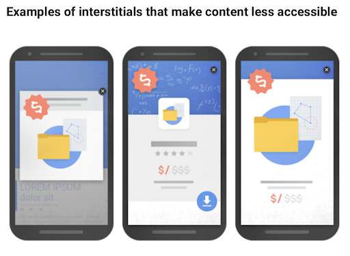 Google page experience - Remove interstitials