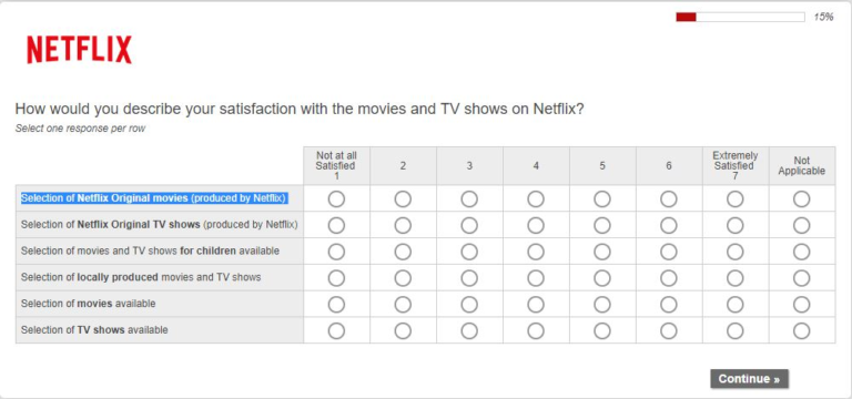 Using questionnaires to improve customer satisfaction - Netfix Questionnaire example