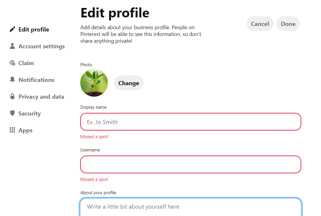 Edit your business profile in Pinterest for SEO