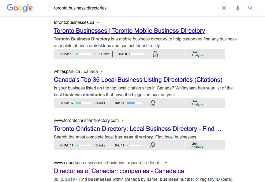 Local SEO strategy = Toronto directory options
