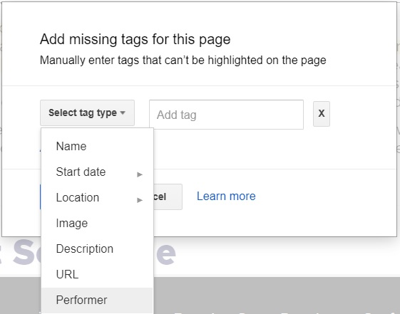 Adding missing tags events schema tag