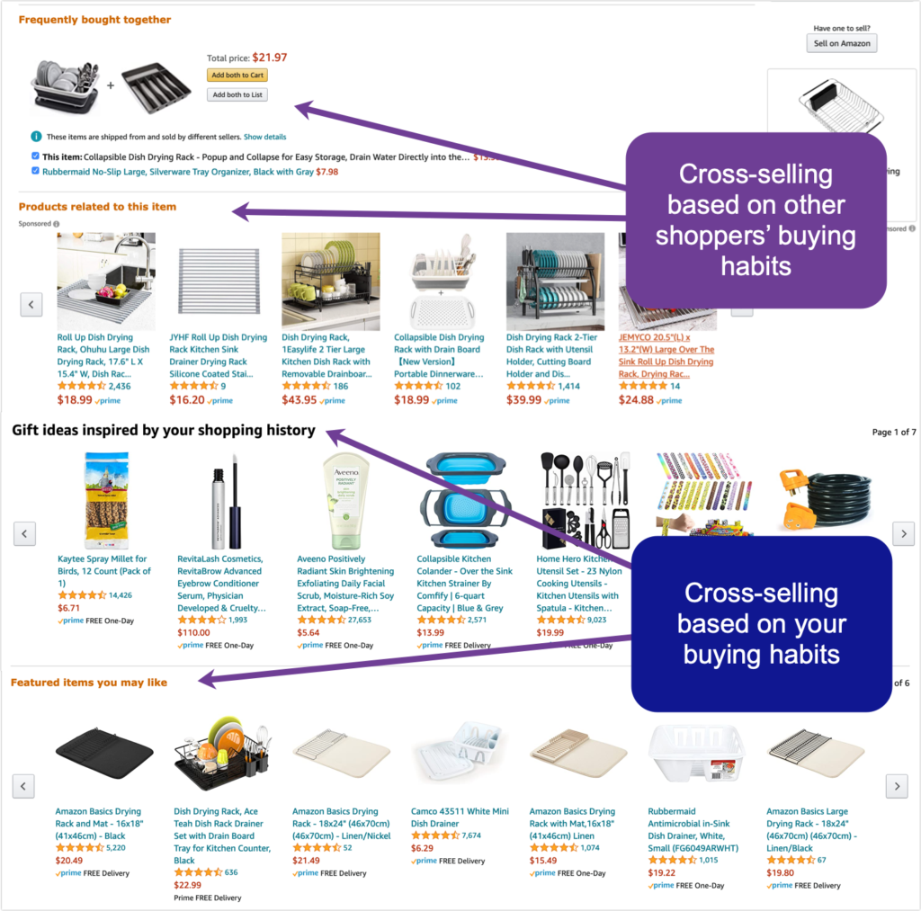 Ecommerce sales funnel optimization tips - Example from Amazon