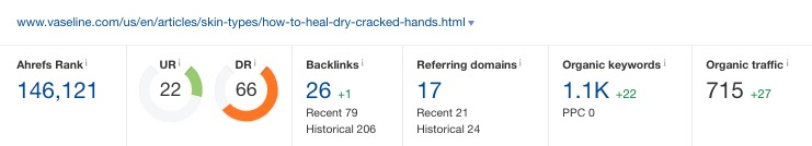 Example - Vaseline hand moisturizer search trend
