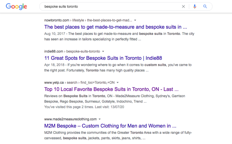 local SEO example - Bespoke suits Toronto