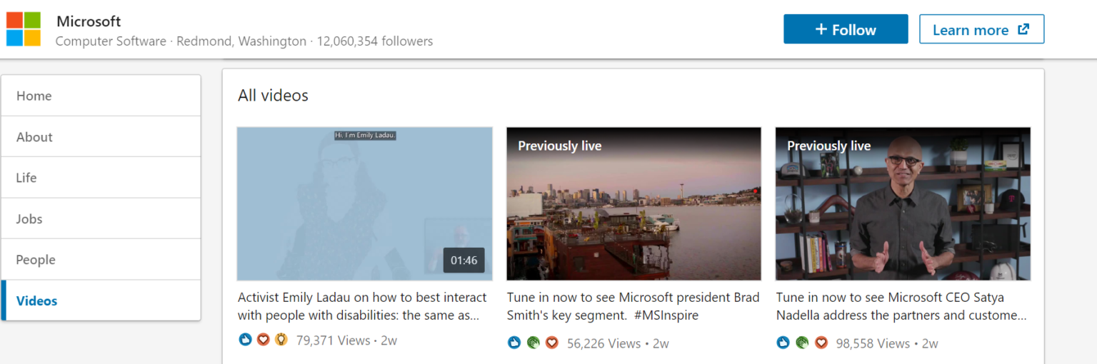 Create videos Microsoft LinkedIn example