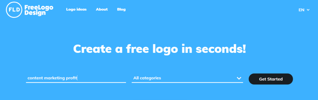 "Landing on website for ""creating a logo"" keyword"