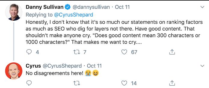 Danny Sullivan tweet SEO recommendations for content length