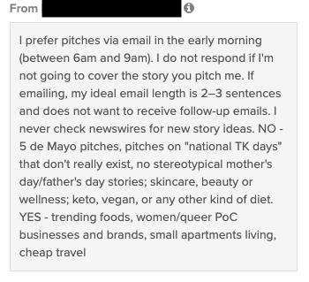 digital PR outreach using social media - example
