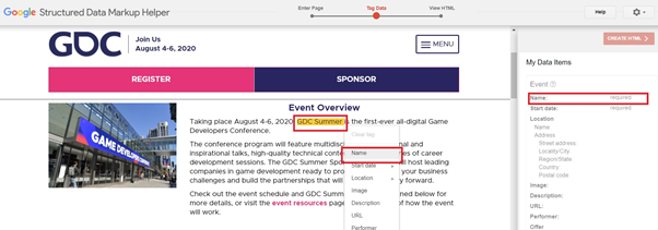Example tagging data to highlight event schema markup