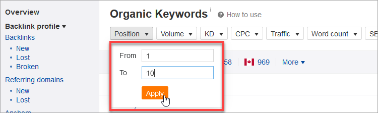 filter results to find organic keywords for featured snippets