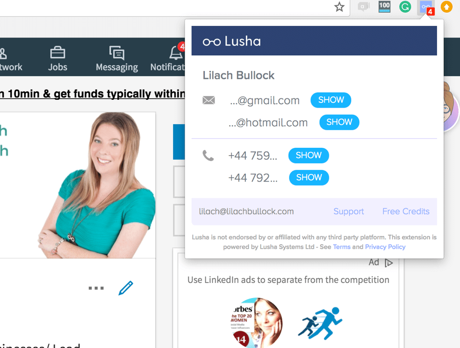 Lusha for social media data and sales