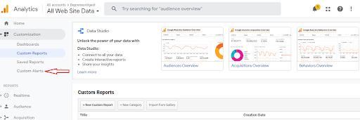 Google Analytics features - Custom alerts