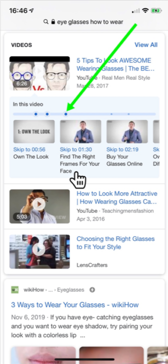 Video outline in Google's video carousel search
