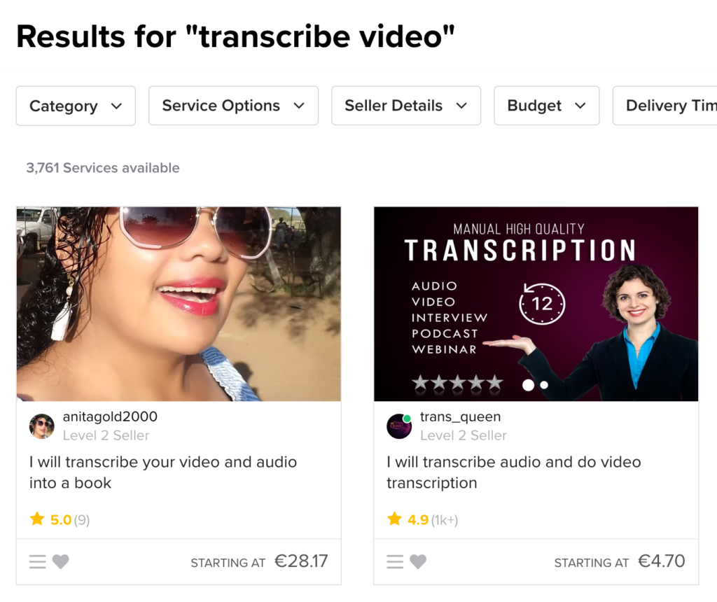 Getting video transcribes with Fivver