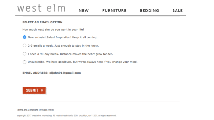 Westelm example on email marketing