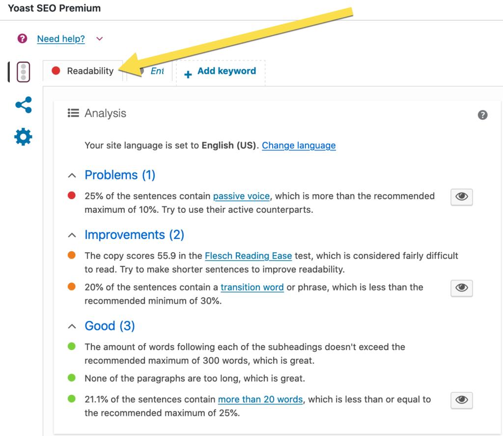 on-page copy quality analysis - Readability